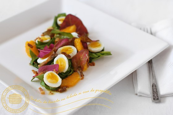 Salată de leurda, loboda şi ouă de prepeliţă