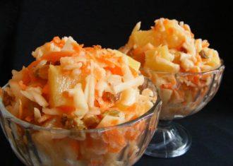 salata de morcovi, mere, ananas
