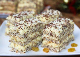 Prajitura Intercontinental cu blat cu nuci si crema pufoasa