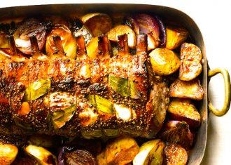 Muschi de porc cu coaste, condimente si legume