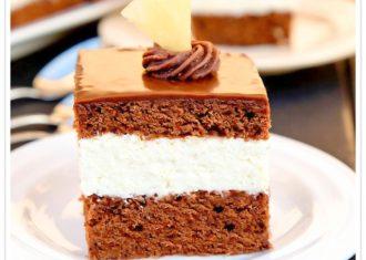 prajitura cu blat de cacao si crema de ananas