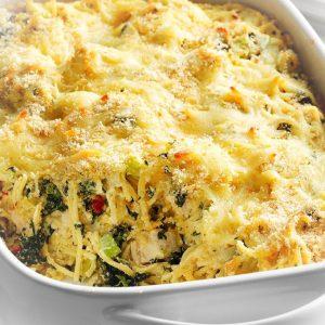 spaghete grecesti cu pui la cuptor